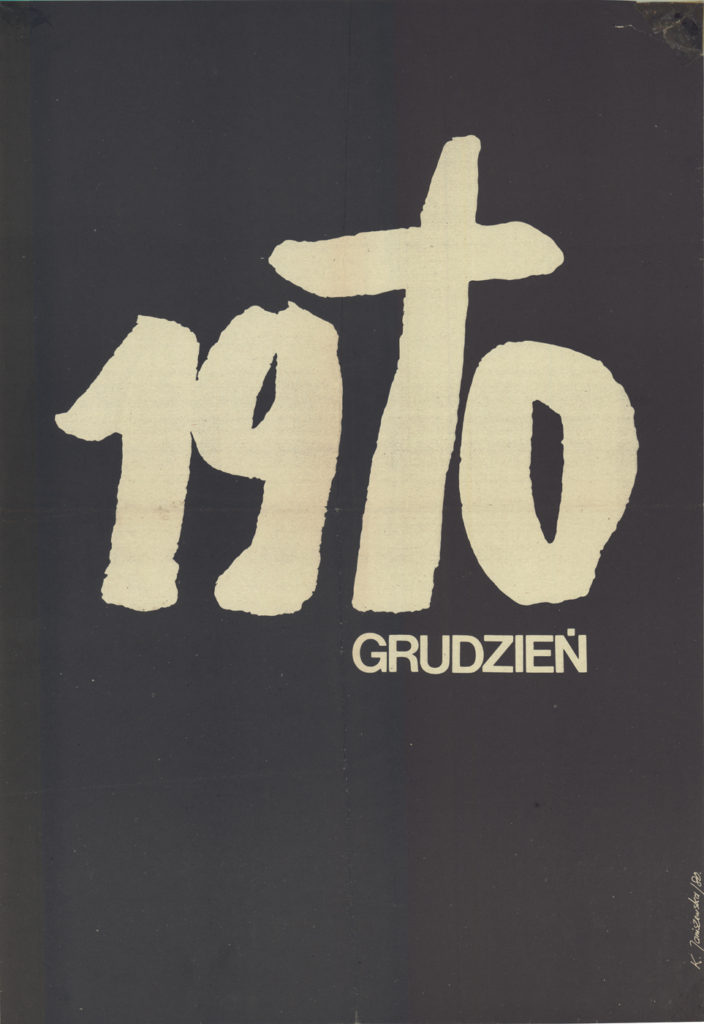 """""""Grudzień 1970"""", plakat Krystyny Janiszewskiej."""